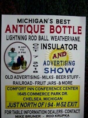 OCT. 7, 2018 Chelsea MICHIGAN Mich. MI. Antique BOTTLE Jar Show Flyer ANN ARBOR