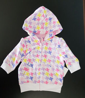 BNWT Girls Mix Baby Size 00 Houndstooth Multi Coloured Zip Front Hoodie Jacket