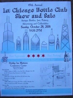 OCT 28 2018 1st Chicago ILL. Antique BOTTLE Jar SHOW Matteson ILLINOIS Flyer IL.