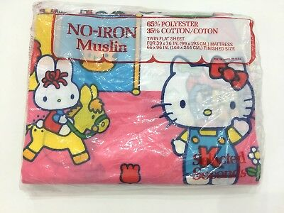 NEW Vintage 1983 Hello Kitty Sanrio Twin Flat Sheet Fabric Circus Carnival