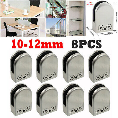 8X 10-12mm Glass Clamp Bracket Flat Clip Back for Handrail 304 Stainless Steel