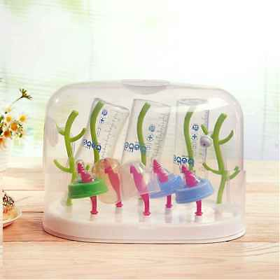 Baby Bottle Drying Draining Rack Drain Tray Organizer Dryer Drainer with Cover