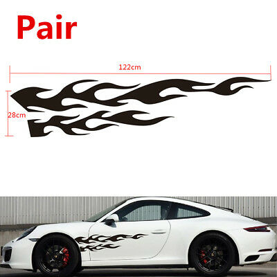 "Pair KK Black Flame Graphic Car Racing Body Decal Sticker Long Lasting 11"" x 48"""
