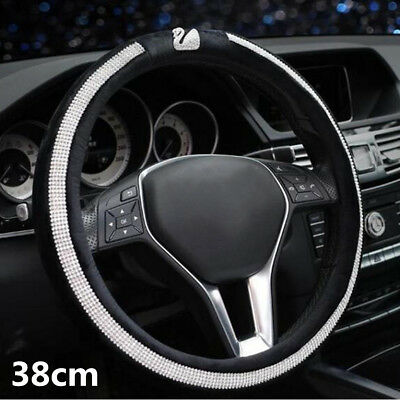 1X 38cm Built In Swan Fashion Crystal Drill Black Plush Car Steering Wheel Cover
