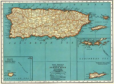 1939 Antique PUERTO RICO Map Vintage Map of Puerto Rico Gallery Wall Art #5747