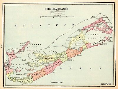 1905 Antique Bermuda Map Original Vintage Map of Bermuda Gallery Wall Art 5748
