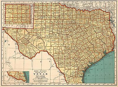 1939 Vintage TEXAS Map Antique Map of Texas State Map Gallery Wall Art 5749