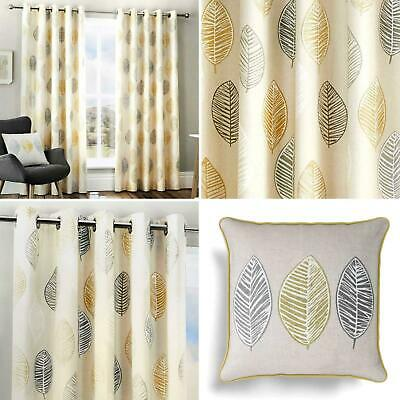 Ochre Eyelet Curtains Skandi Leaf Print Ready Made Lined Ring Top Curtain Pairs
