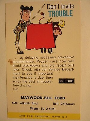 1972 MAYWOOD-BELL FORD, FORD DEALERSHIP. Bell, California. Maintenance postcard