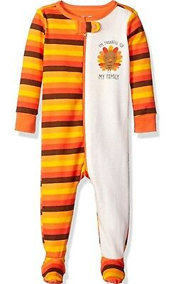 NWT CHILDRENS PLACE stretchy 1-pc pajamas pjs-Thanksgiving design 12-18M or 4T