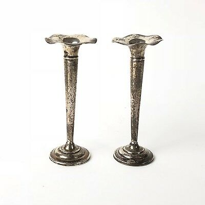 Pair of Small Fluted Trumpet Shaped Sterling Silver Vases Ruffled George Webster