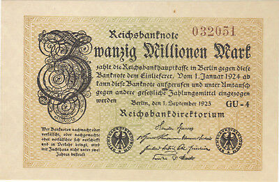 1923 20 Million Mark Germany Currency Reichsbanknote Unc Banknote Note Bill Cash