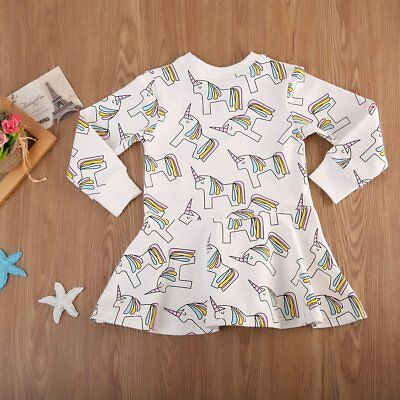S-361 LS Toddler Girl's White Unicorn Shirt Sizes 2T-7T (Free Shipping)