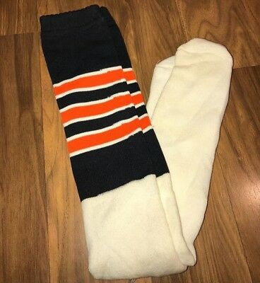 NEW Vtg 70s 80s Knee high TUBE SOCKS Black Orange STRIPED Athletic Mod Sport