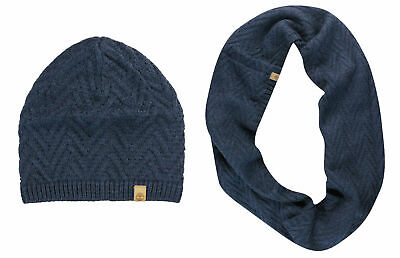 Timberland Womens Cable Knit Scarf Snood Hat Winter Set Navy A13JT 516 UW15