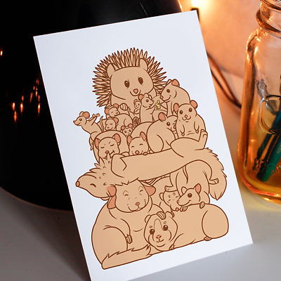 Critters A6 postcard, small pet print card, pets greeting card