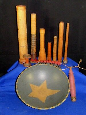 Primitive Painted Star Wooden Bowl+9 Assorted Wood Sewing-Tread Bobbin Spools