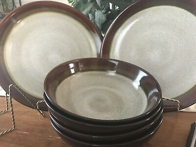 Gibson Elite Brown Rimmed Dinner Plates And Soup Or Cereal Bowls  Dinnerware