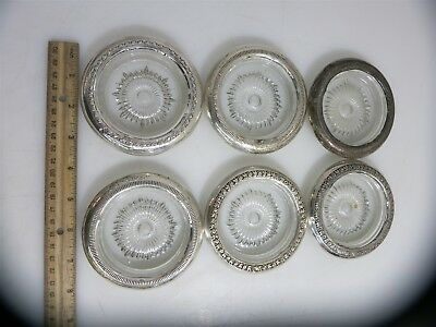 6 Vintage Sterling Silver Rimmed Glass Coasters / Ashtrays