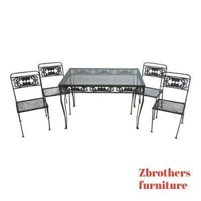 Vintage Outdoor Cast Aluminum Patio Porch Dining Table 4 Chairs