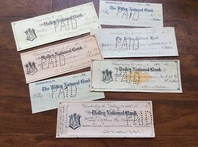 Lot 7 Obsolete Bank Checks - Valley National Bank - Chambersburg PA - 1900s NEAT