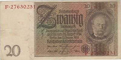 1929 20 Reichsmark Nazi Germany Currency Banknote Note Money Bank Bill Cash Wwii