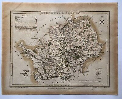 1815 G Cole & J Roper Hertfordshire Original Map The Beauties Of England & Wales