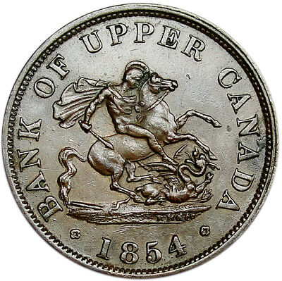 PROVINCE OF CANADA Half Penny 1854 Copper AU BANK OF UPPER CANADA