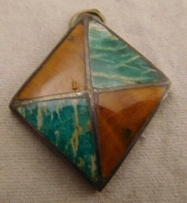 Vintage Funky Sterling Silver Inlay Tigers Eye Blue Wave Gem Hand Made Pendant