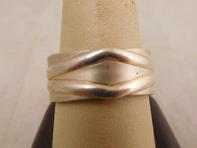 Large Size Vintage Sterling Silver Modernist Simple Funky Size 11 Band Ring