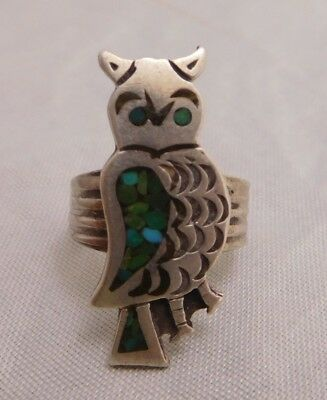 Vintage Sterling Silver Turquoise Stone Inlay Owl Tribal Southwest Native Ring