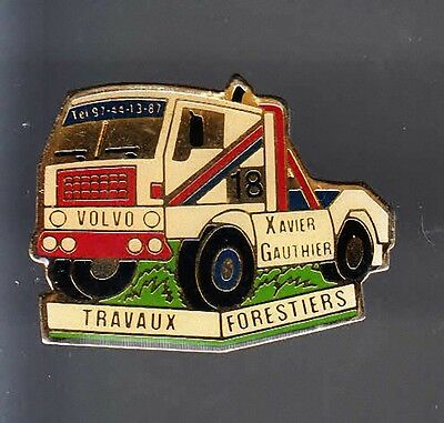 Rare Pins Pin's .. Camion Truck Race Racing Course Volvo Gauthier Bois Foret ~Av