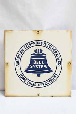 Vintage American Telephone Telegraph Co Bell System Squared Enamel Metal Sign