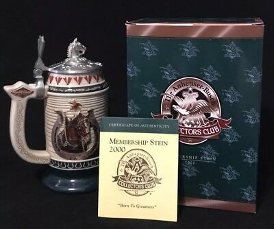 Anheuser Busch Budweiser Collectors Club Member's Stein 2000 Born To Greatness