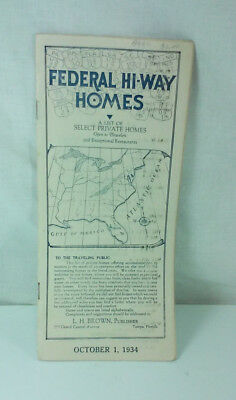 1934 Federal Hi-Way Homes List Of Select Private Homes Open To Travelers Booklet