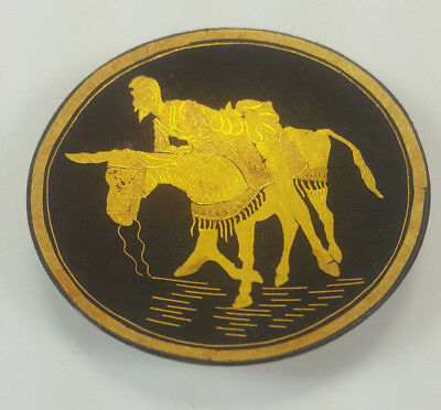Vintage Toledo Spain Damascene Don Quixote On A Donkey Footed Dish Or Tray