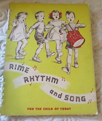 1942 Music Children's Song Book RHYME RHYTHM & SONG Beautiful Vintage by WHITMAN