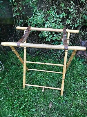 FABULOUS VINTAGE WOODEN BAMBOO STYLE ART DECO SUITCASE STAND 30x30x16.5""