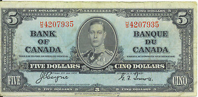 Bank of Canada 1937 $5 Five Dollars Coyne-Towers H/S Prefix VF King George VI