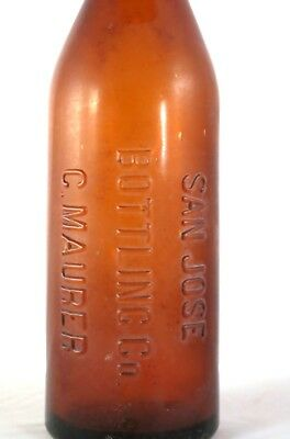 1890's San Jose Bottling Co Cal C Maurer Brewing Blob Top Beer Bottle 24 oz