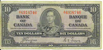 Bank of Canada 1937 $10 Ten Dollars Coyne-Towers  A/T Prefix VF King George VI