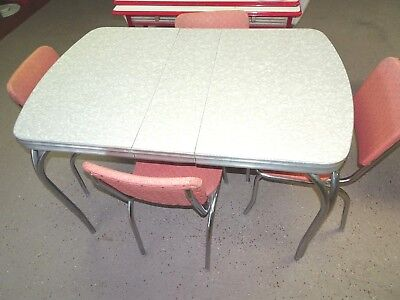 Mid-Century 50sFormica chrome Ice vinyl kitchen table + Leaf Pastel Peach chairs