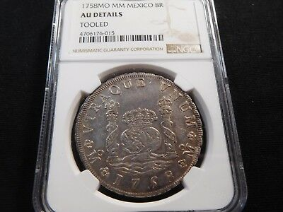 X2 Mexico 1758-Mo, MM 8 Reales NGC AU Details Tooled
