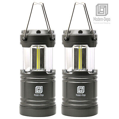 2-Pack Portable LED Camping Lantern Flashlights Survival Kit w/ Magnets (Silver)