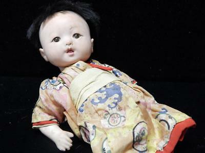 Very Early Antique Vintage Japan Japanese Ichimatsu Gofun Doll 9 1/2' In Total