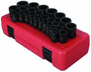 "Sunex Tools 2645 26 Piece 1/2"" Drive Metric Shallow Impact Socket Set"