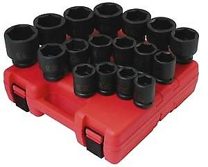"Sunex Tools 4683 3/4"" Sae Impact Socket Set Shallow 17 Pc 1-2"""