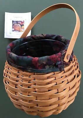 Longaberger Basket 2001 Pumpkin Patch Basket Falling leaves liner, protector