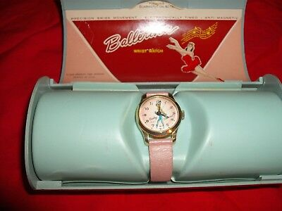Vintage 1963 Bradley Character wrist watch Ballerina mint in original oval box