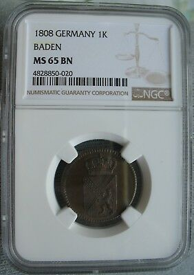 1808 German Baden 1 Kreuzer  NGC MS-65 BN